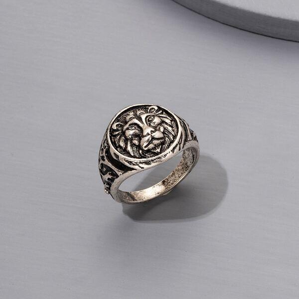 Men Animal Head Decor Ring, Antique silver