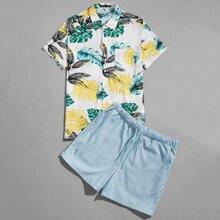 Guys Tropical Print Shirt & Drawstring Shorts Set