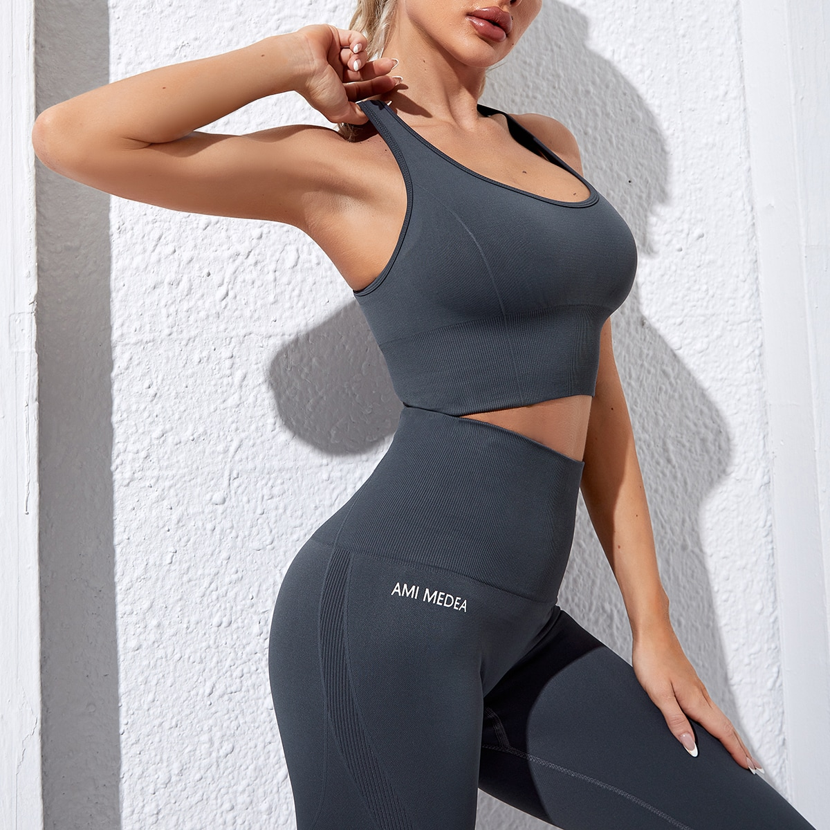 Seamless Solid Racer Back Sports Bra & Biker Shorts, SHEIN  - buy with discount