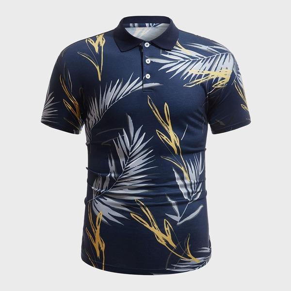 Men Random Plants Print Polo Shirt, Navy blue