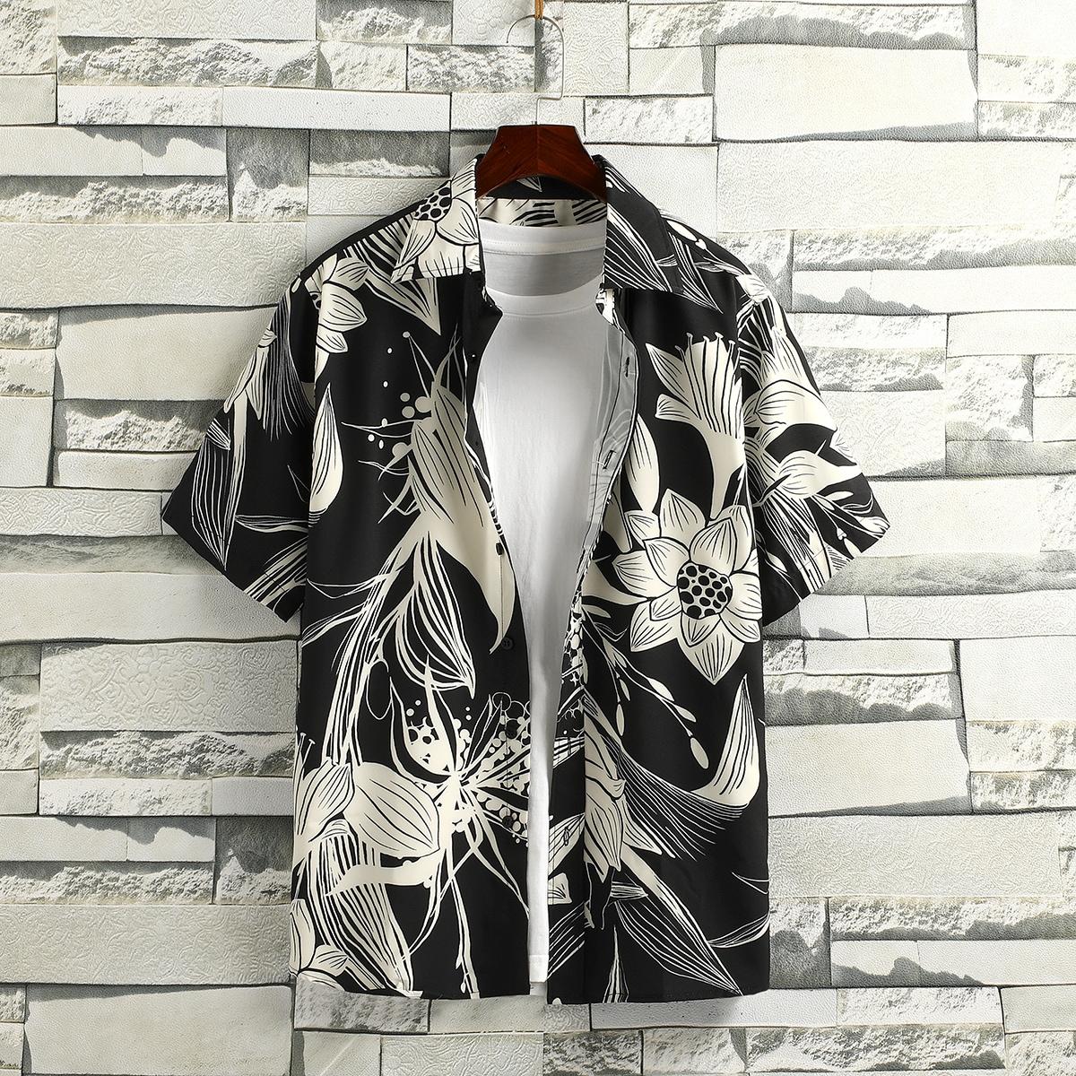 Пуговица Цветочный Отпуск Мужские рубашки SheIn smshirt25210414680