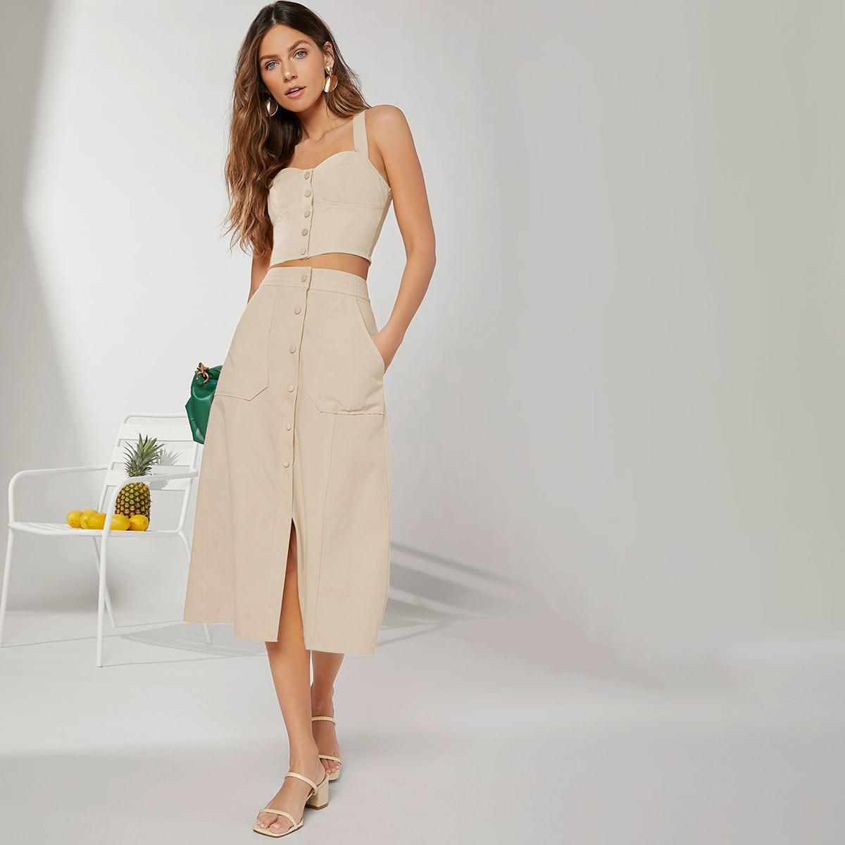 Solid Button Front Pocket Side Skirt
