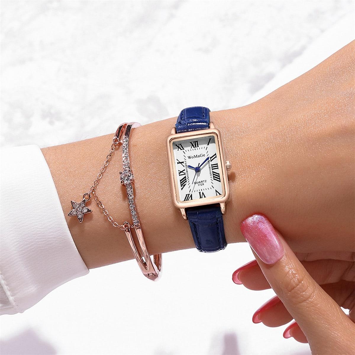 1шт прямоугольные стрелочные кварцевые часы и 1шт браслет