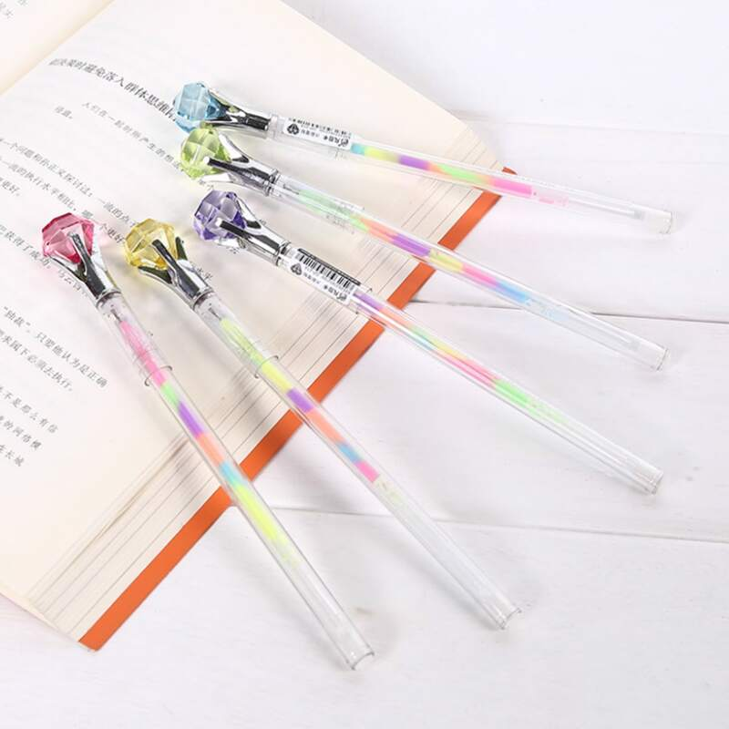 1pc Random Rhinestone Decor Highlighter Pen, Multicolor