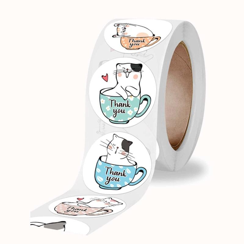 1roll 500pcs Cartoon Cat Sticker, White