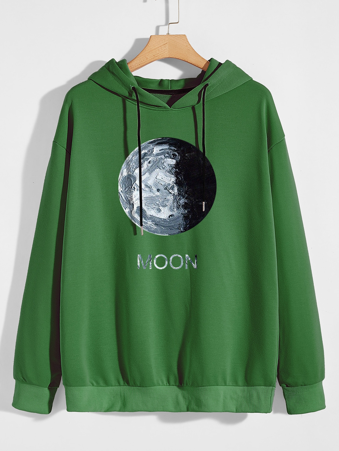 Men Moon And Letter Graphic Drop Shoulder Drawstring Hoodie