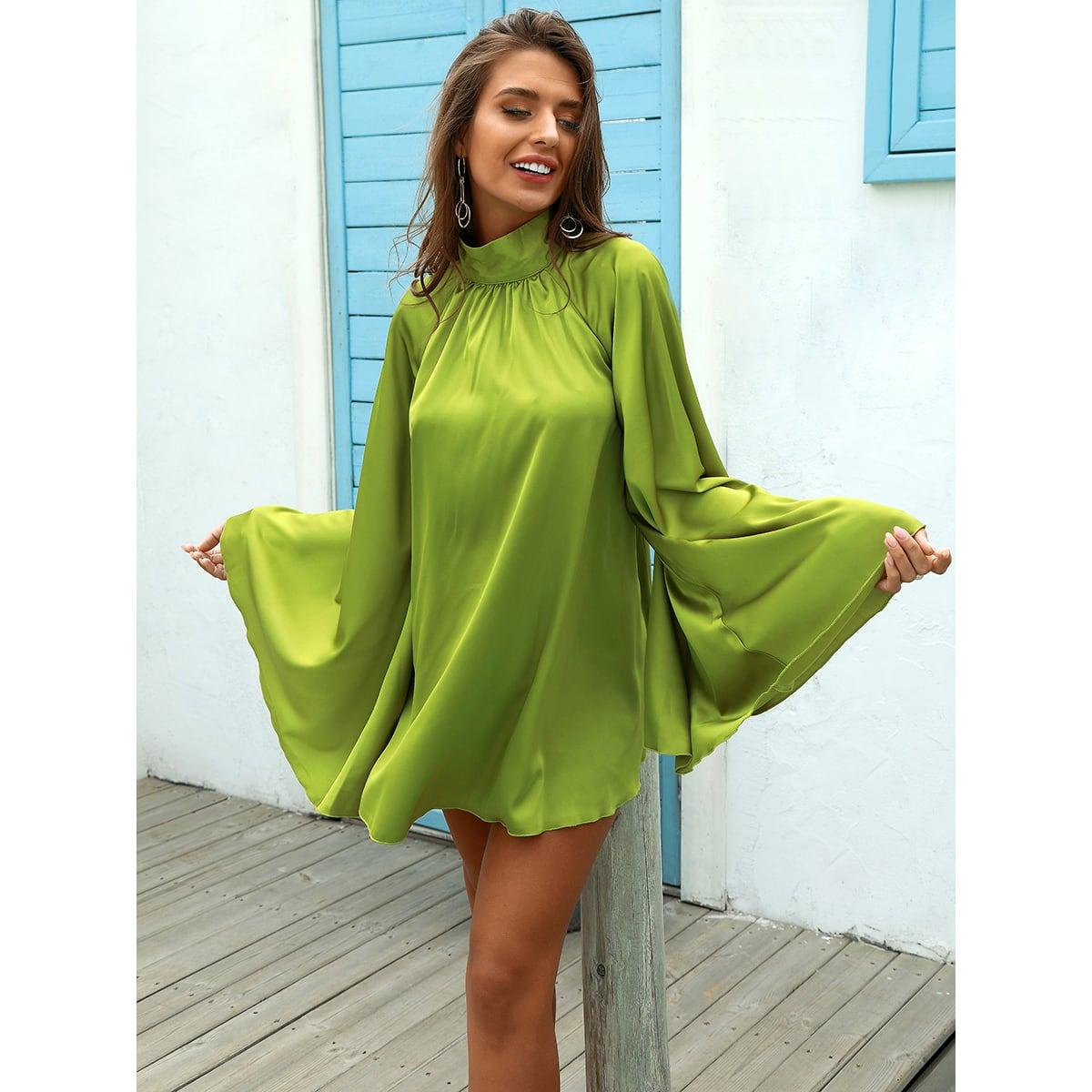 на пуговицах Одноцветный Повседневный Платье SheIn swdress31210421353