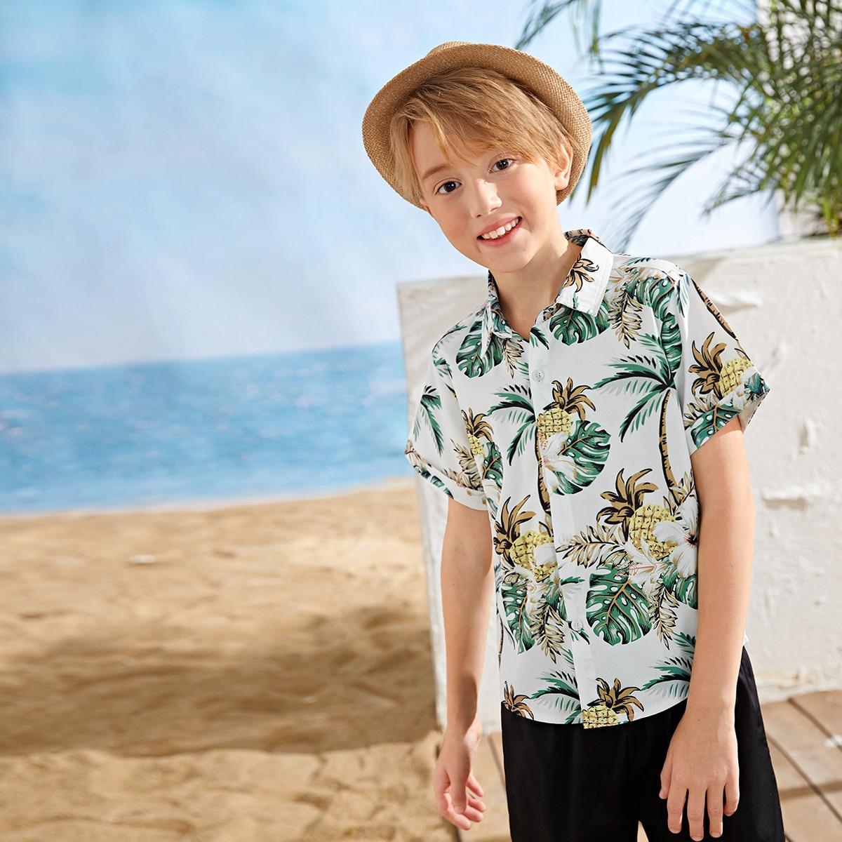Пуговица Тропический Фрукты и овощи Бохо Рубашки для мальчиков