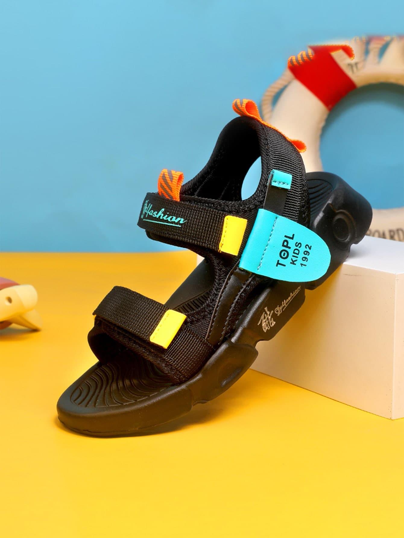 Boys Letter Graphic Velcro Strap Sport Sandals