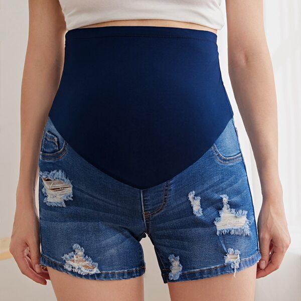 Maternity Ripped Denim Shorts, Medium wash