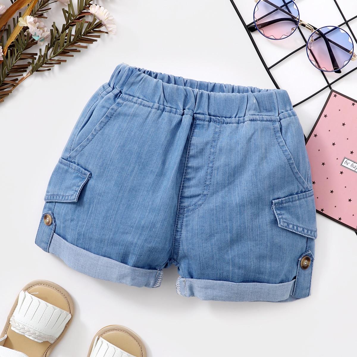 для мальчиков Джинсовые шорты поддельный карманом от SHEIN