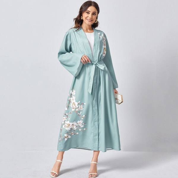 Bell Sleeve Self Belted Floral Print Abaya, Green