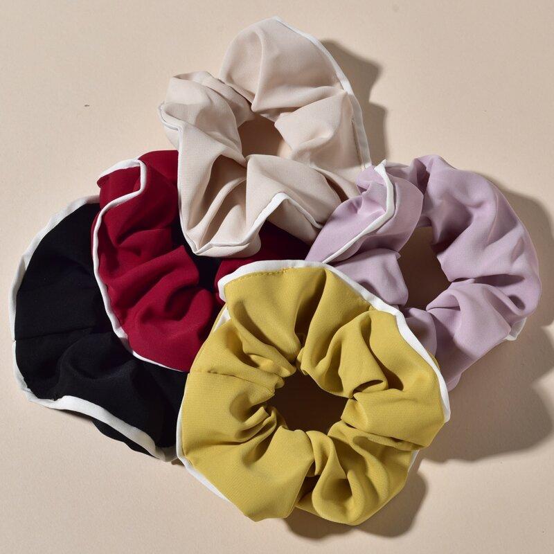5pcs Contrast Binding Scrunchie, Multicolor