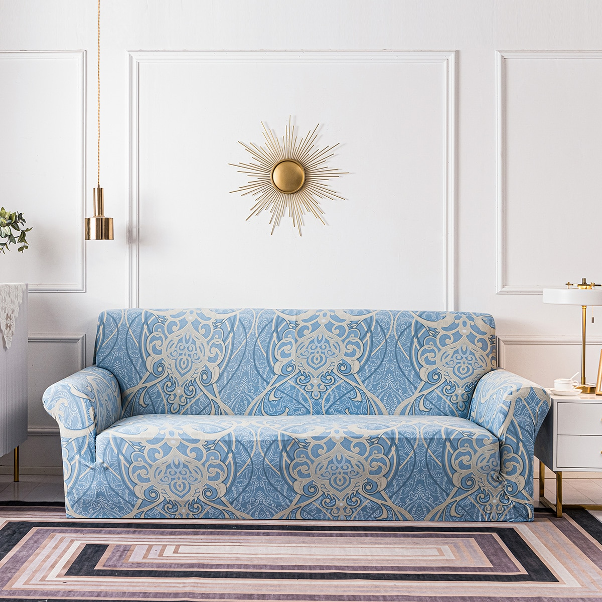 Damask Print Sofa Slipcover & 1pc Cushion Cover Without Filler