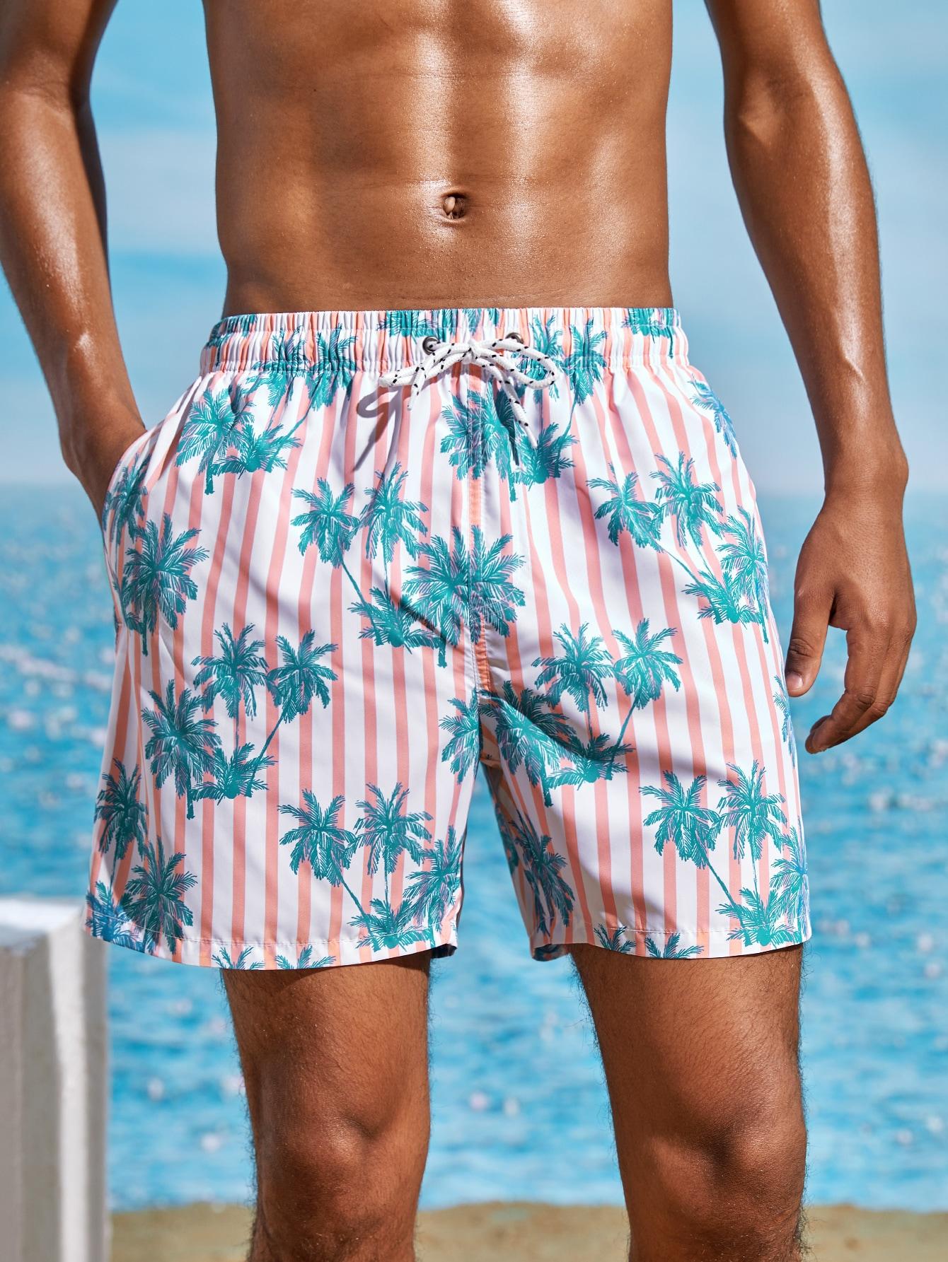 men tropical and striped drawstring swim trunks