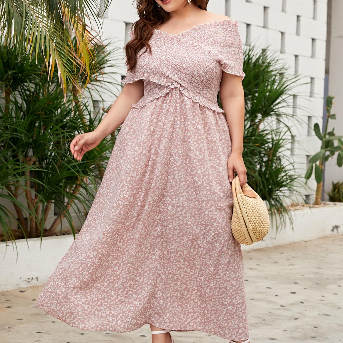 размера плюс Платье с цветочным принтом с открытыми плечами