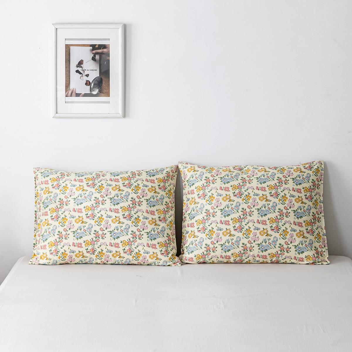 1 Paire Taie D'oreiller À Imprimé Floral Sans Bourre