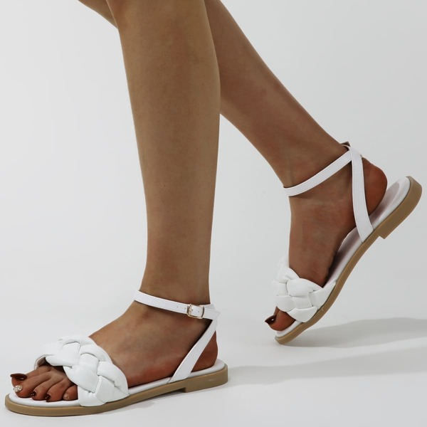 Braided Ankle Strap Sandals, White