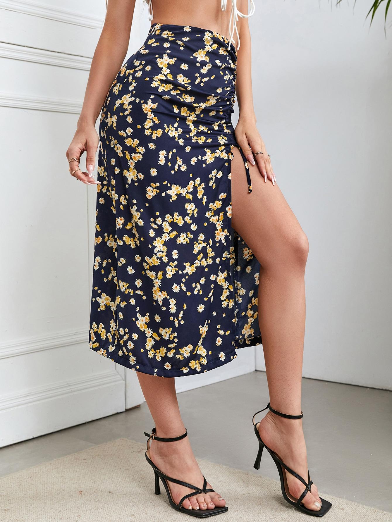 ditsy floral print drawstring split thigh skirt