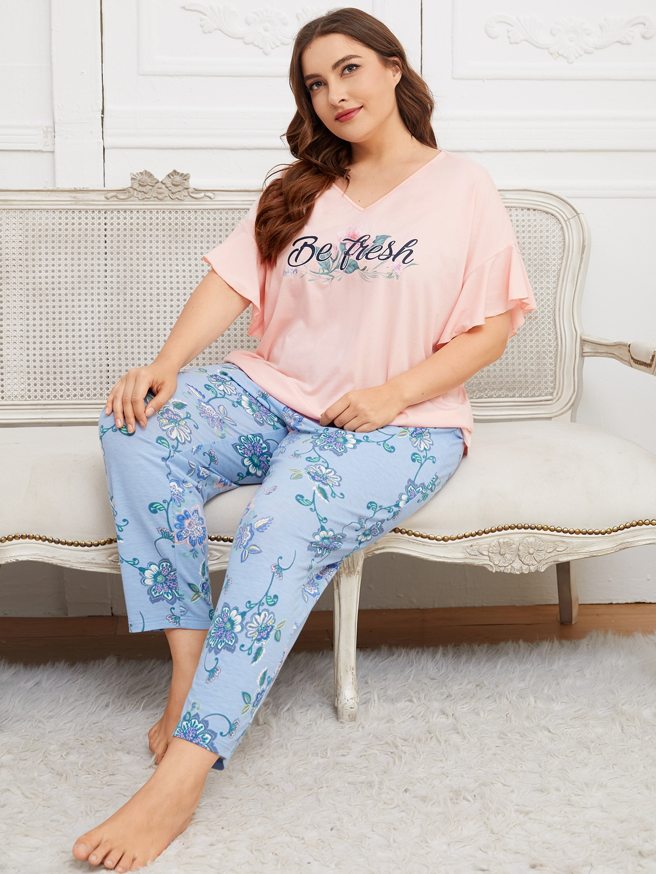 Plus Flounce Sleeve Letter & Floral Top And Pants Set