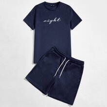 Guys Letter Graphic Tee & Track Shorts Set