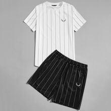 Guys Antler Print Tee & Striped Shorts Set