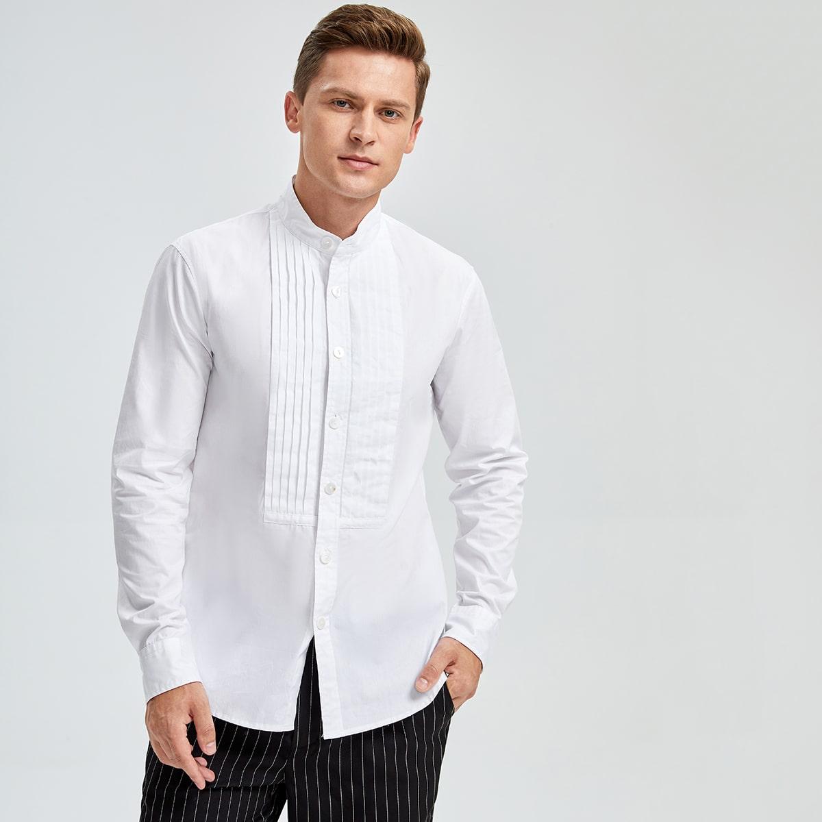 Мужская плиссированная рубашка с воротником-стойкой