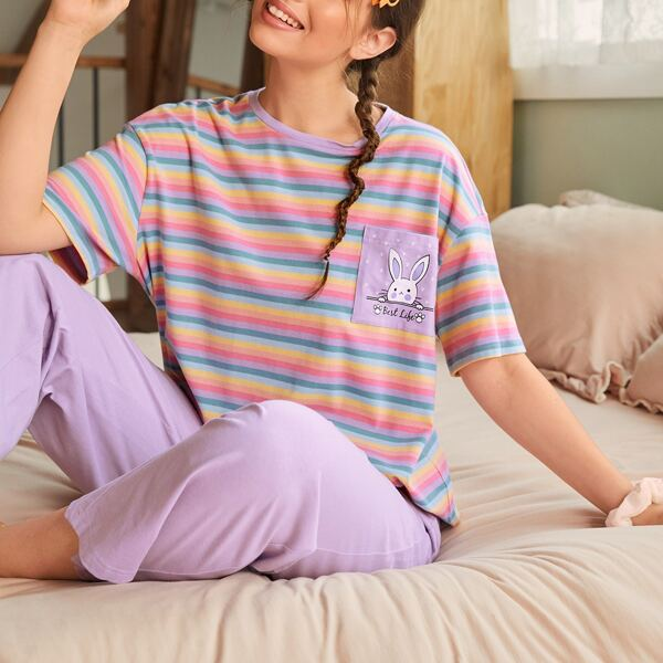 Rabbit Print Patch Pocket Rainbow Striped Top & Pants PJ Set, Multicolor