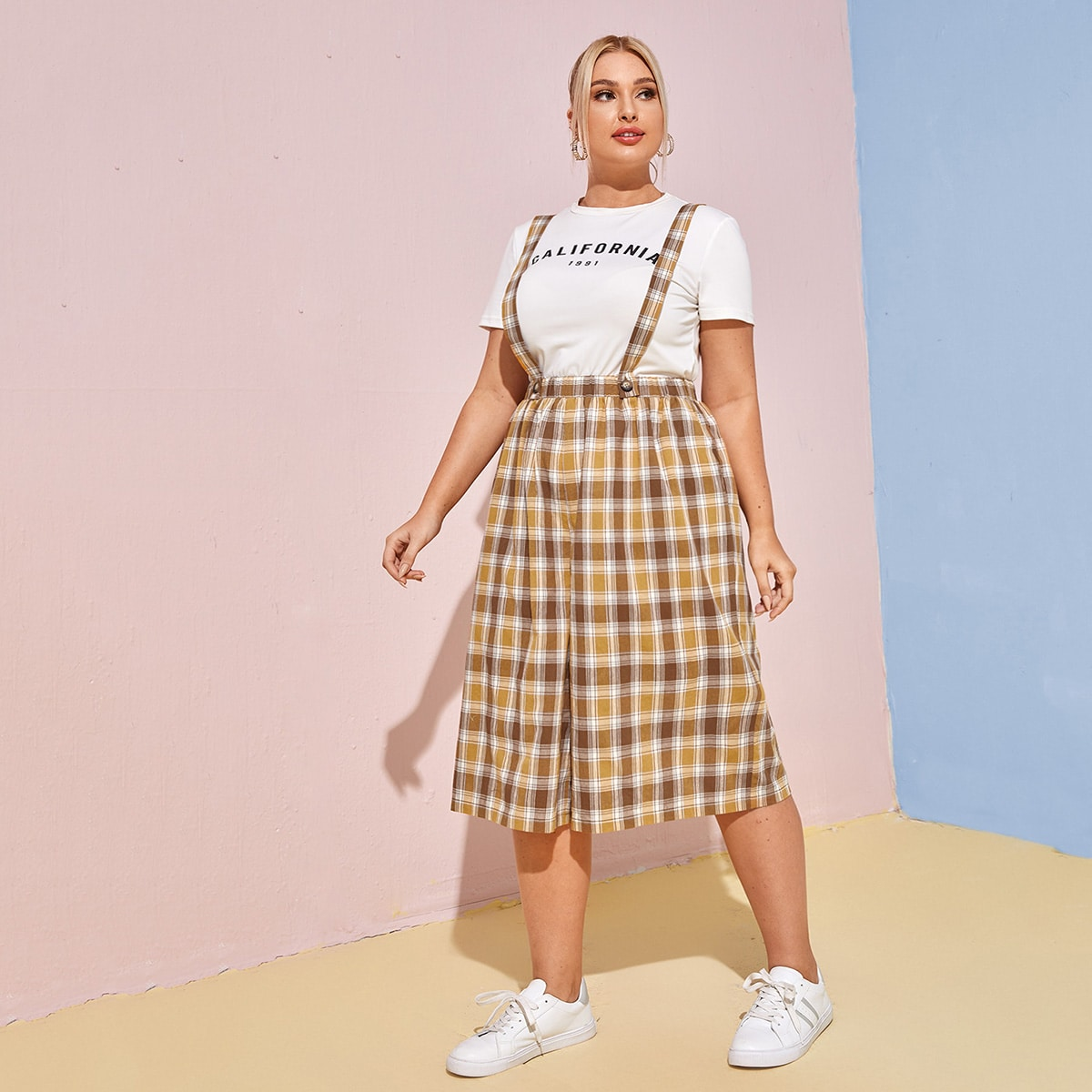 Plus Plaid Suspender Pants Without Tee