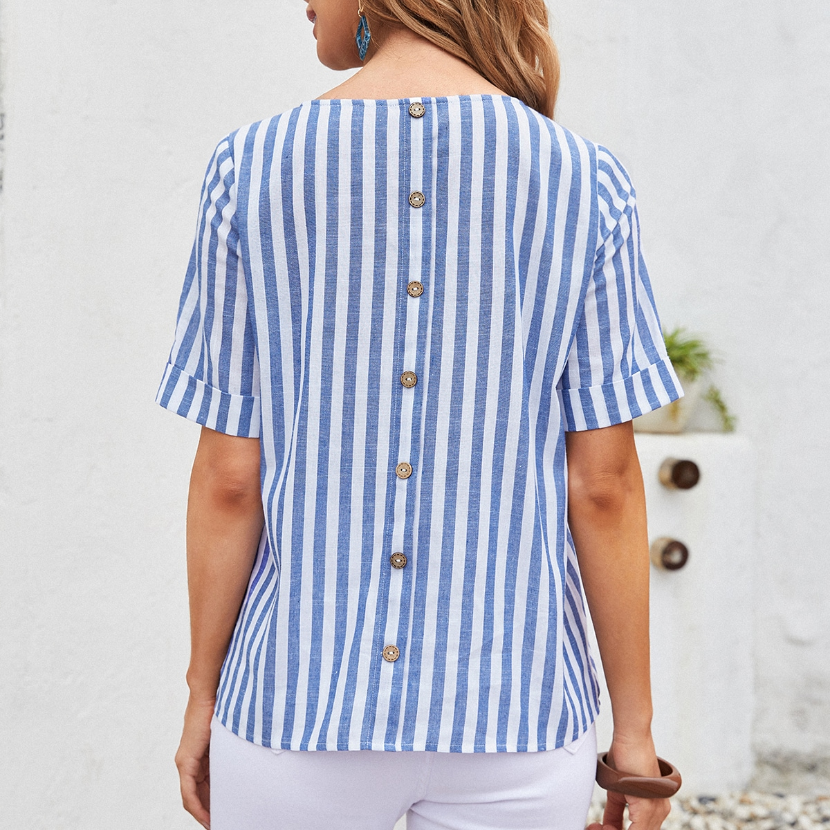 Rolled Cuff Button Back Striped Top