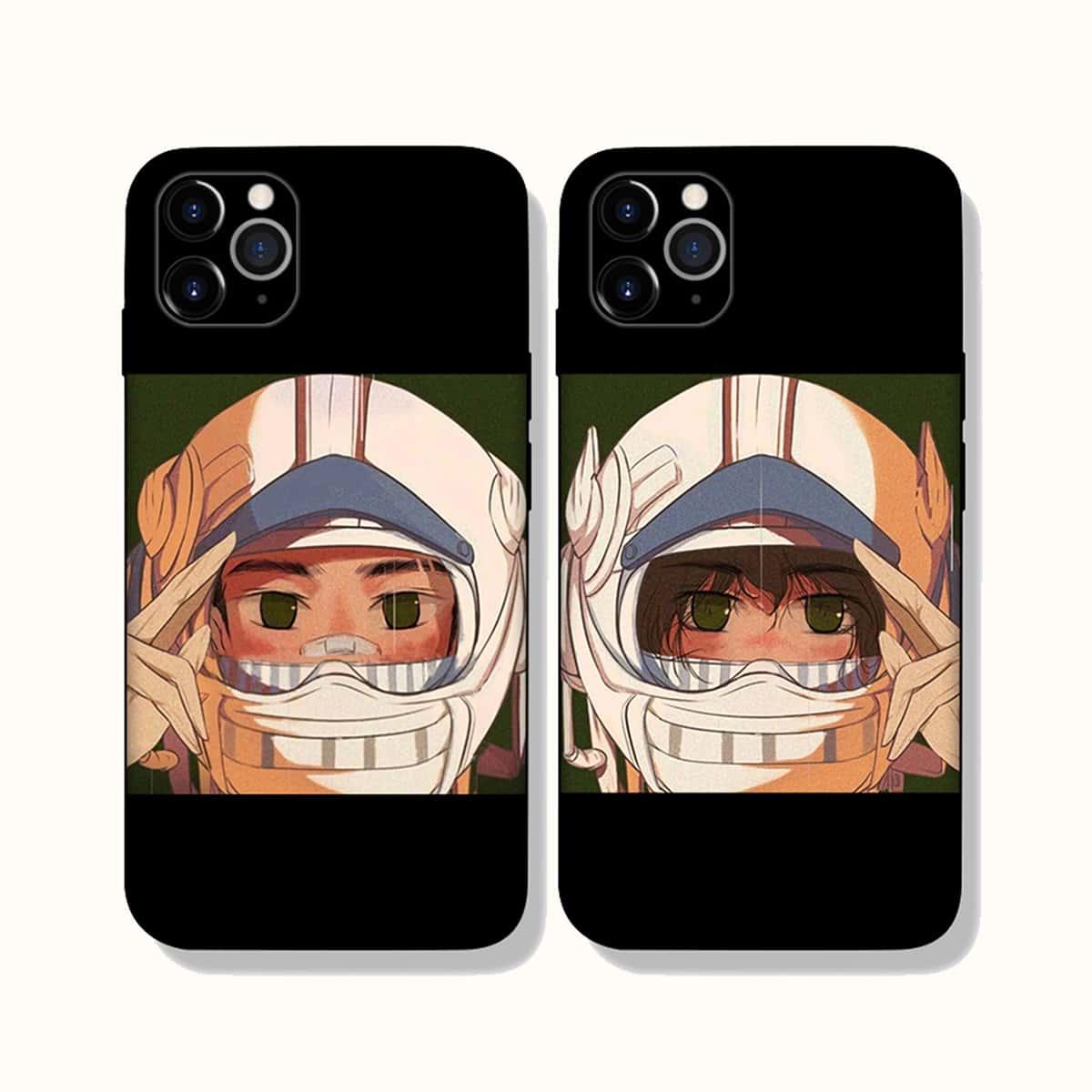2pcs Couple Astronaut Print Phone Case