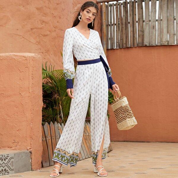 Surplice Wrap Knot Side Allover Print Blouse & Pants Set, White