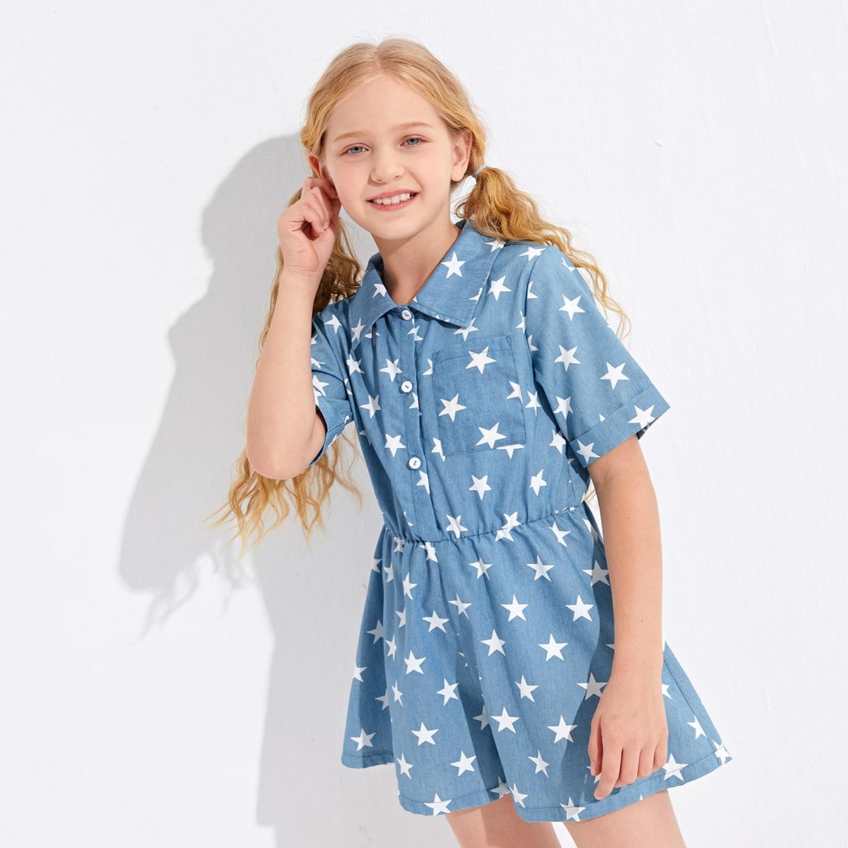 Girls Star Print Half Button Denim Romper