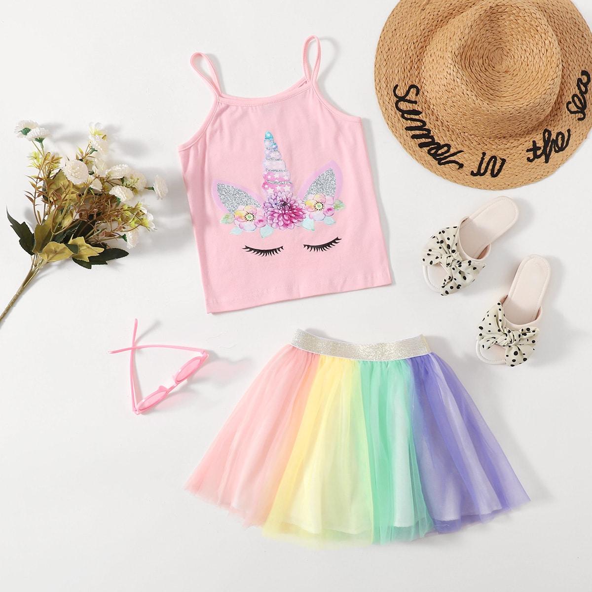Toddler Girls Unicorn Print Cami Top With Tutu Skirt