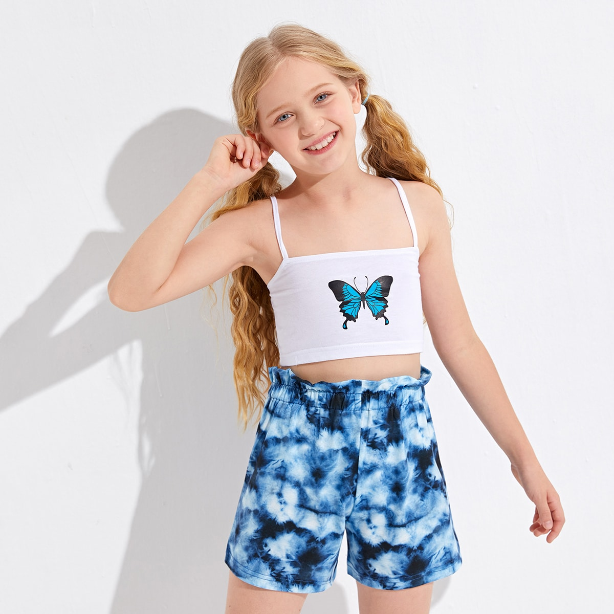 Top avec imprimé papillon & Short tie dye
