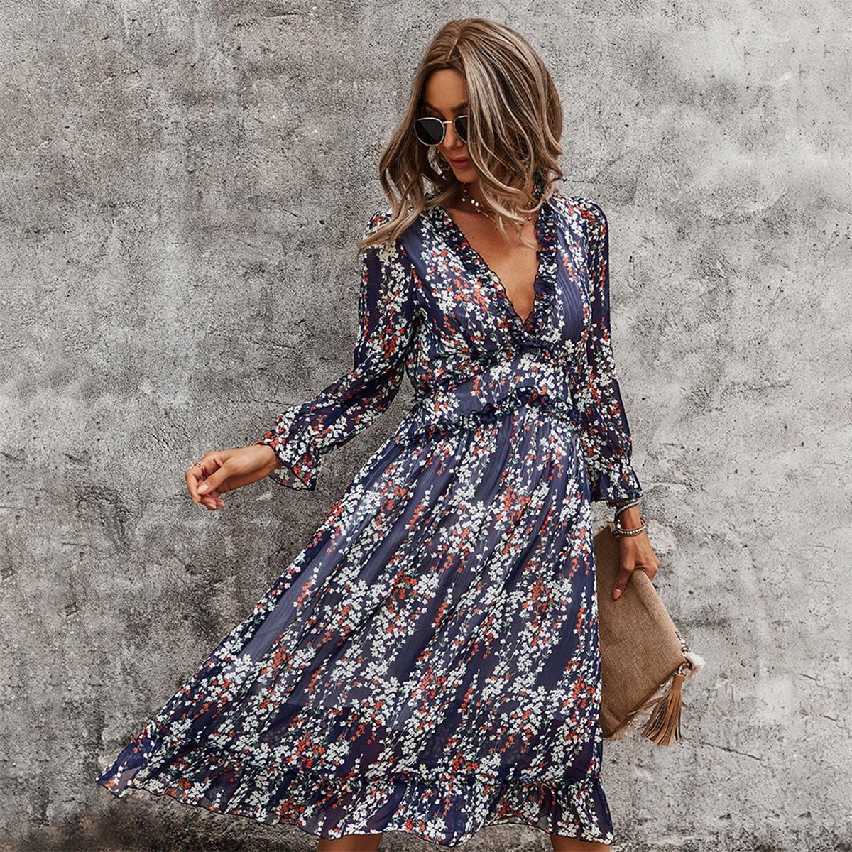All Over Print Deep V-neck Ruffle Hem Dress