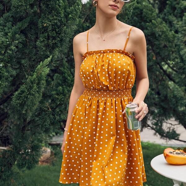 Polka Dot Shirred Waist Cami Dress, Mustard yellow