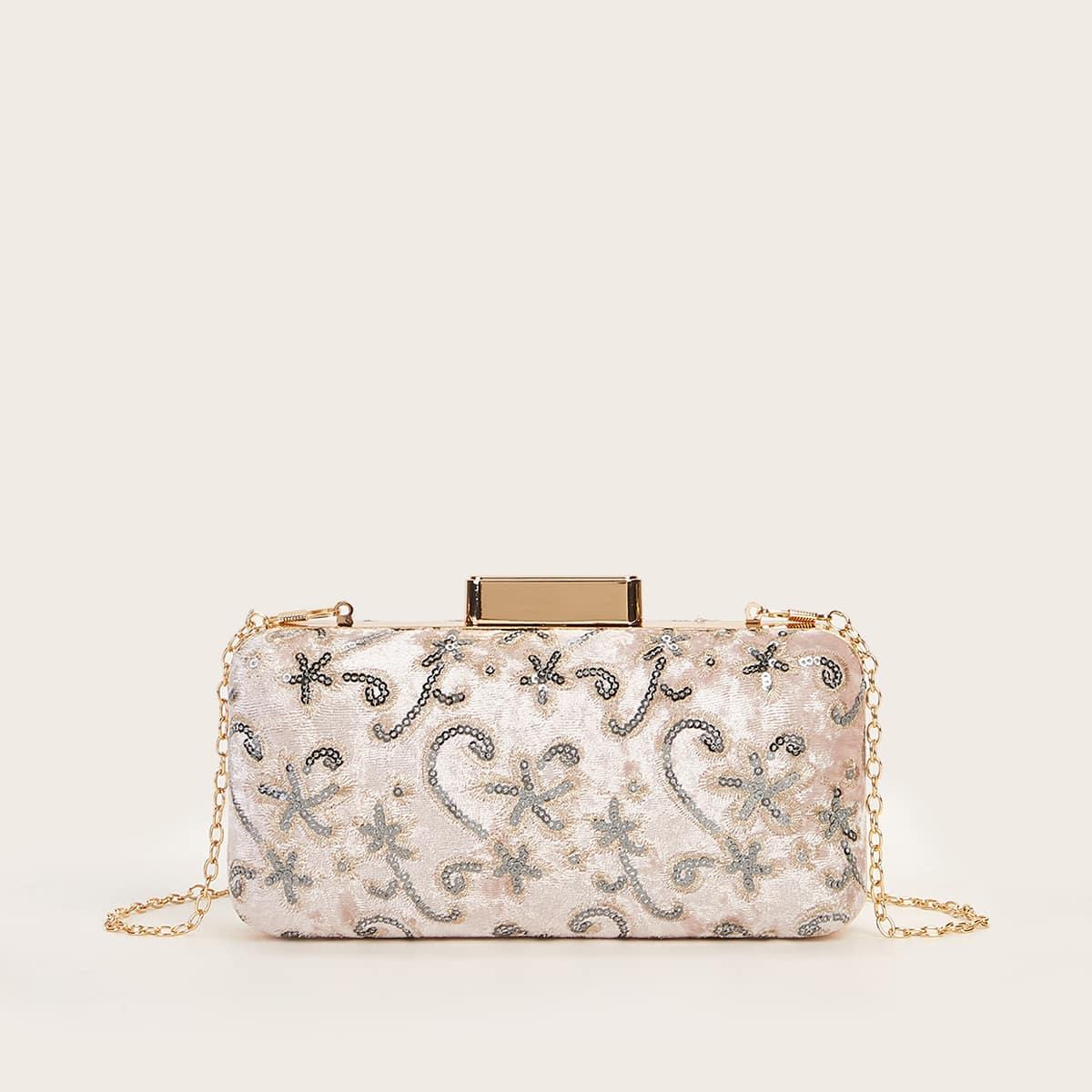Sequins Decor Floral Pattern Box Bag