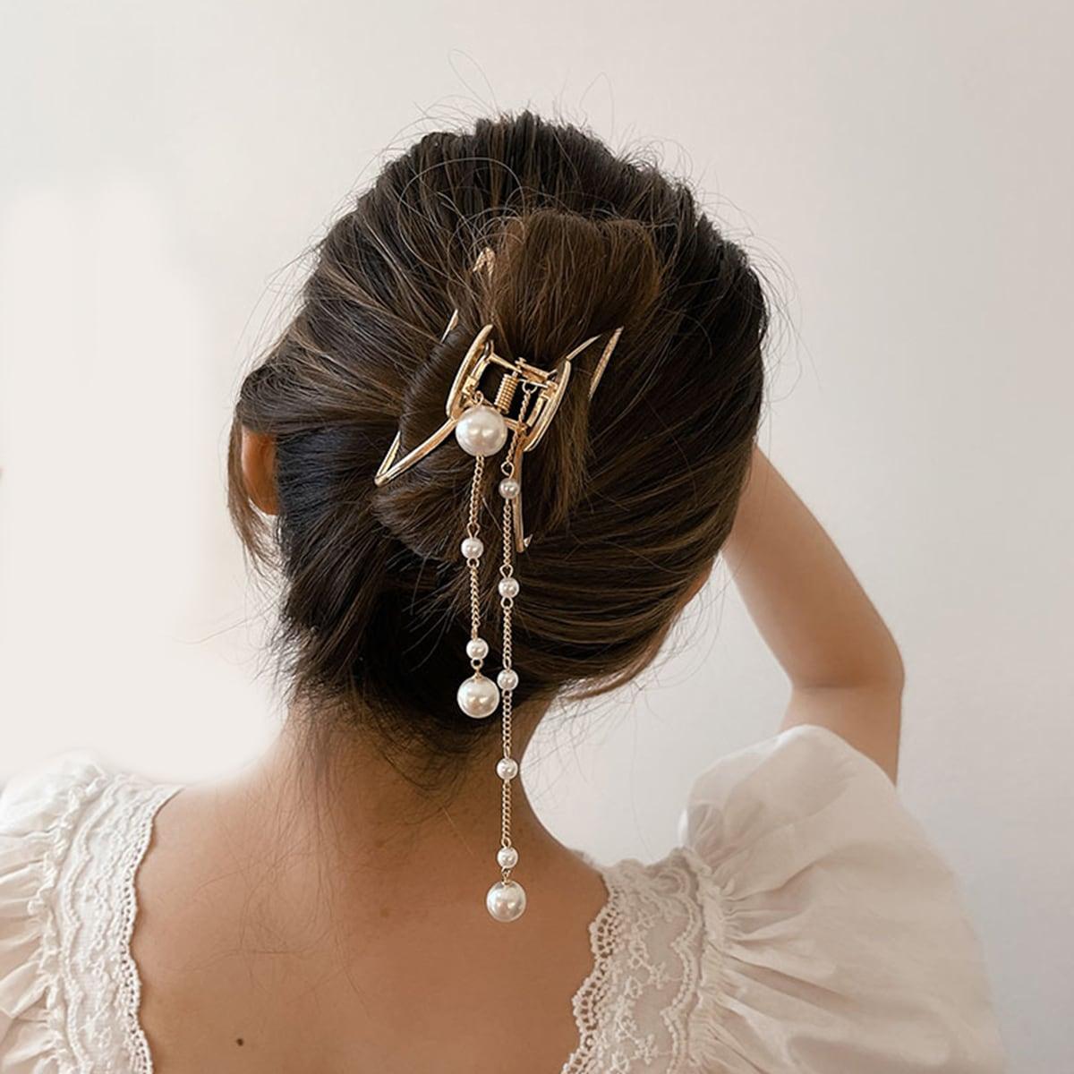 Faux Pearl Pendant Hair Claw