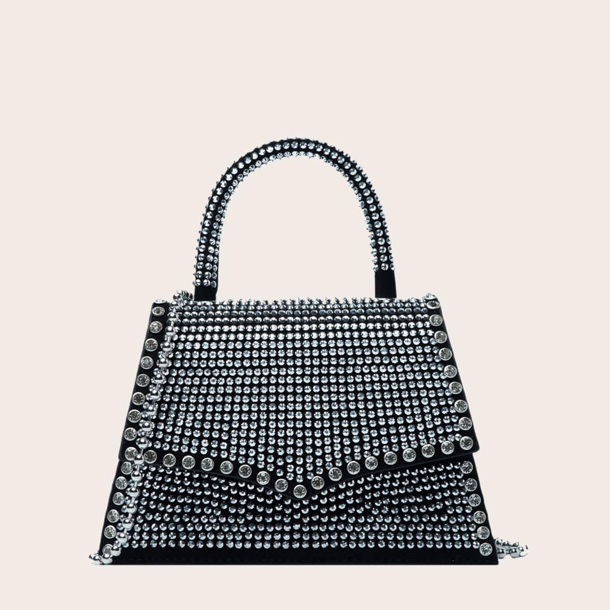 Rhinestone Decor Chain Satchel Bag