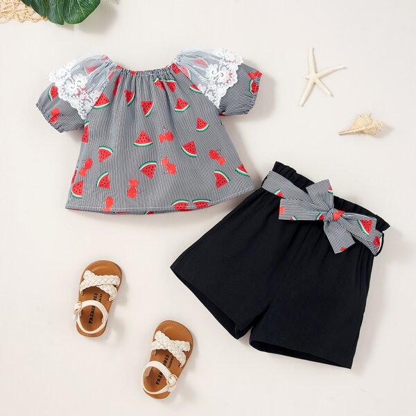 Baby Girl Watermelon & Cherry Print Lace Panel Blouse & Belted Shorts, Black and white