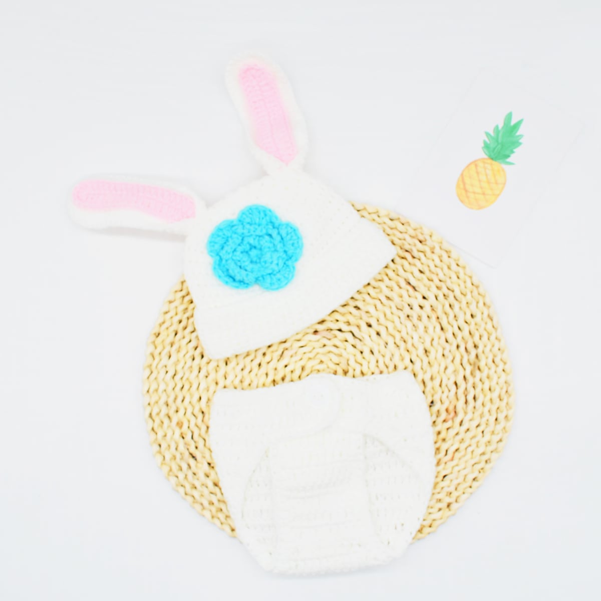 Newborn Girl Knit Shorts & Hat Photography Prop, SHEIN  - buy with discount
