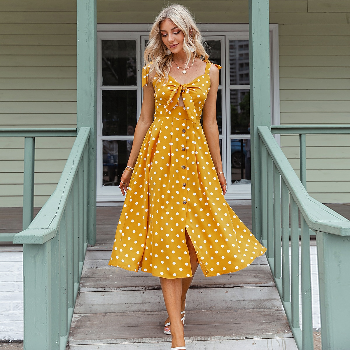 Polka Dot Knot Front Button Front Dress