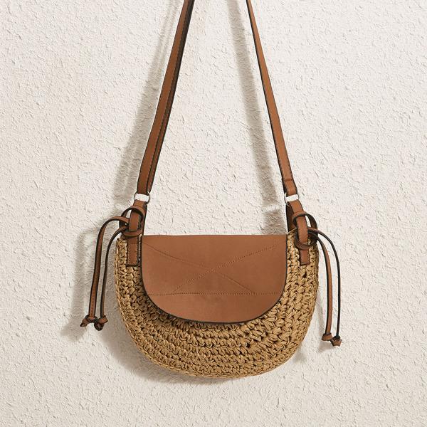 Stitch Detail Straw Crossbody Bag, Brown