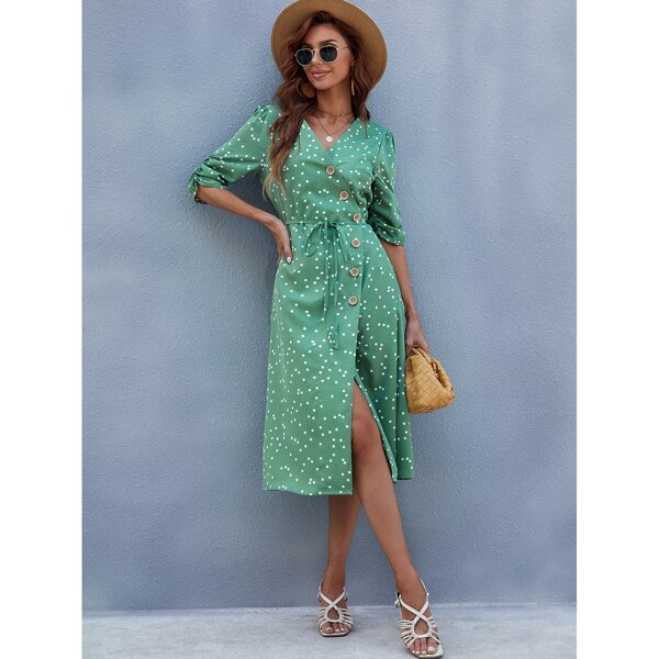 Polka Dot Button Front Belted Midi Dress, Green