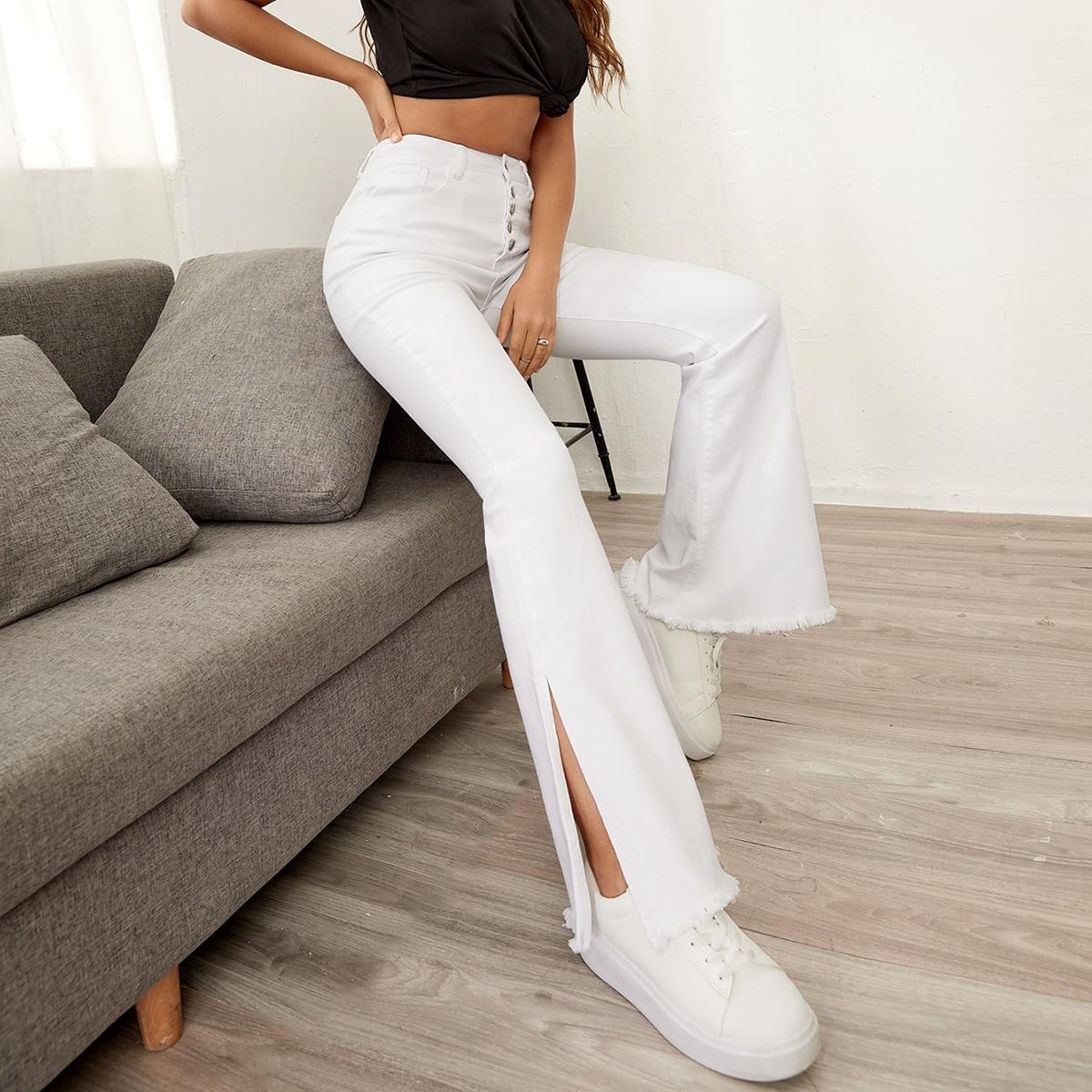 Buttoned Fly Split Side Flare Leg Jeans
