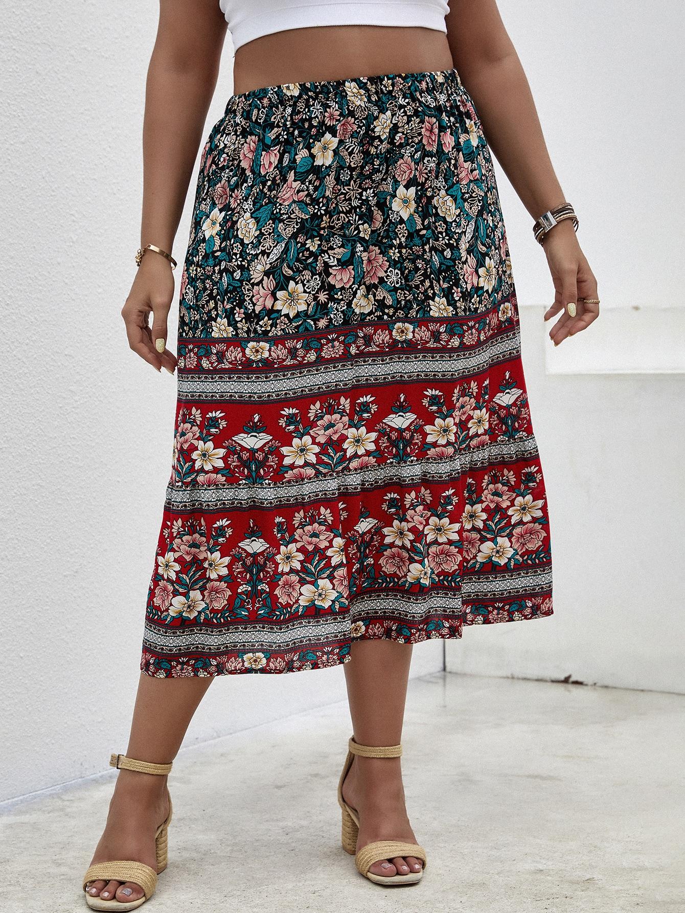 Plus Floral Print A-Line Skirt