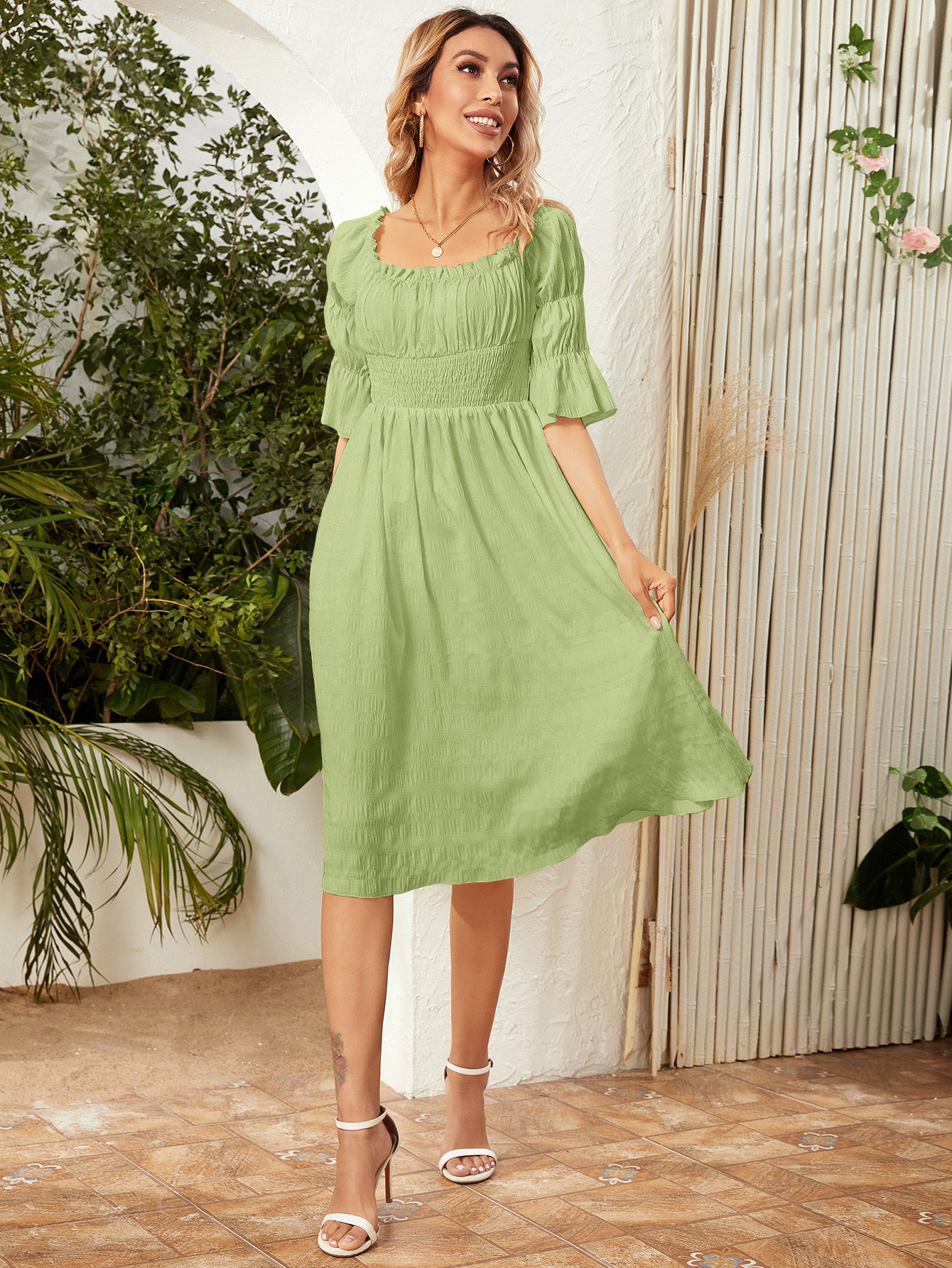 bell sleeve ruched bust shirred dress