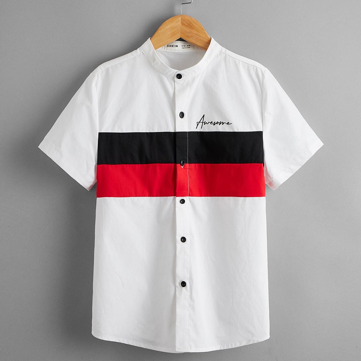 Контрастная рубашка для мальчиков с текстовым рисунком