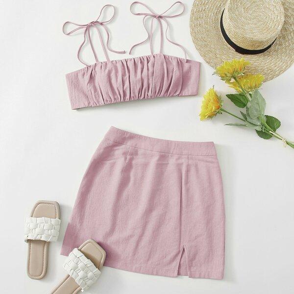 Knot Shoulder Tie Back Ruched Bust Crop Cami Top & Split Hem Skirt Set, Dusty pink